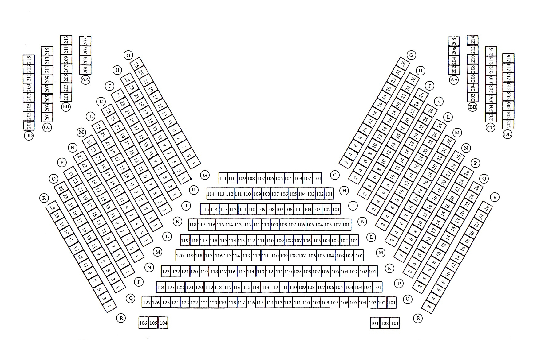 Seating chart for LaGuardia Arts